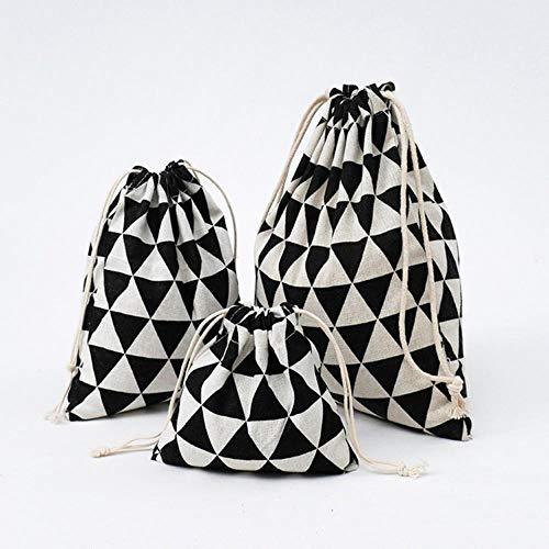 SXCYU Bolso de Compras de Moda para Mujer Fresca con cordón de algodón Ropa Interior de Viaje Zapato Organizador de Almacenamiento Bolsa Bolsa, triángulo Negro, S