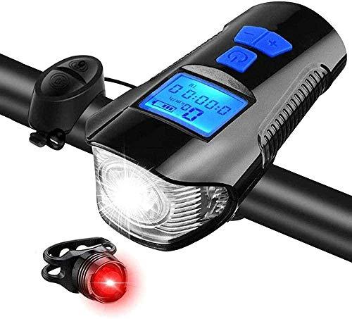 klt Juego de luces para bicicleta con velocímetro de bicicleta y cuentakilómetros USB recargable para bicicleta y luz delantera