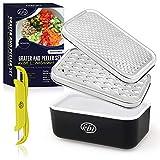 KitchenBe1 - Reibe Edelstahl und Box mit Deckel & Schäler, Aufbewahrungsbox mit schützenden Gummifüßen, Küchenreibe Käsereibe Gemüsereibe, ideal für Käse- Obst- und Gemüse-Liebhaber, Schwarz