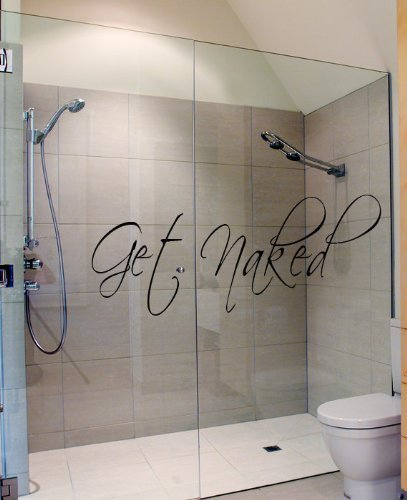 Get Naked Wall Decal Vinyl Bathroom Wall Art -