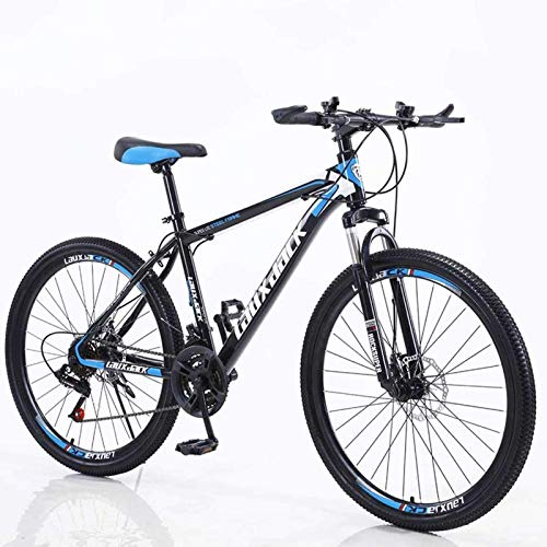 Chilits 21 Speed 26 Inch Mountain Bike Aluminum Alloy and High Carbon Steel, Front Suspension Disc Brake Outdoor Bikes for Women Men (Black-blue)