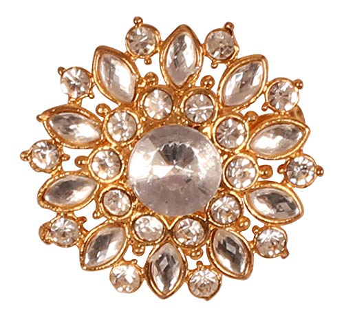Touchstone New Indian Bollywood Romance Amazingly Hand Crafted Floral Round Crystals Marquise Shape Kundan Look Vintage Round Shape Brooch In Gold Tone For Women.