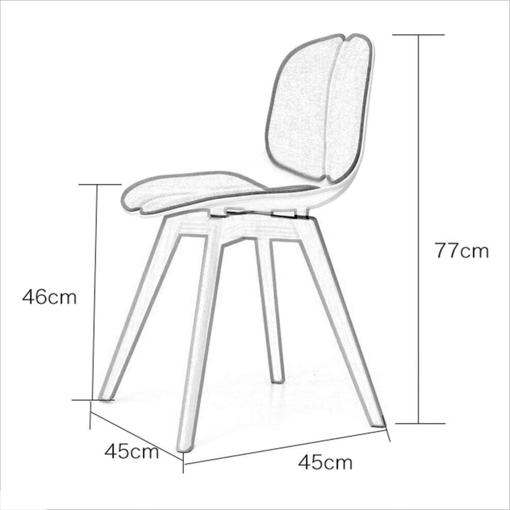 HURONG168 Chaises de cuisine Chaise de bureau nordique en bois massif chaise de bureau à la maison chaise de restaurant créatif siège lounge (Couleur : Blanc) Noir