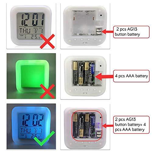 fdgdfgd Varias Especies de Animales Tigre Despertador LED Cambio de Color con termómetro Fecha Despertador Reloj de Regalo de Juguete para niños