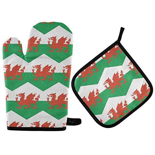 Manoplas de horno y soportes para ollas de la bandera de Gales Sets resistentes al calor guantes de horno agarradera para cocinar hornear a la parrilla