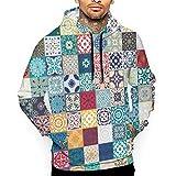 Sudadera con capucha para hombre, diseño hippie Talavera mexicana con capucha y bolsillo