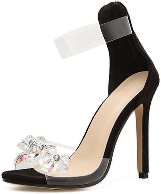 Women Crystal Sandals Transparent Handmade High Heel Kitzen Peep Toe Stilettos Ladies Fashion Summer shoes Size Pumps Ankle Strap Heel