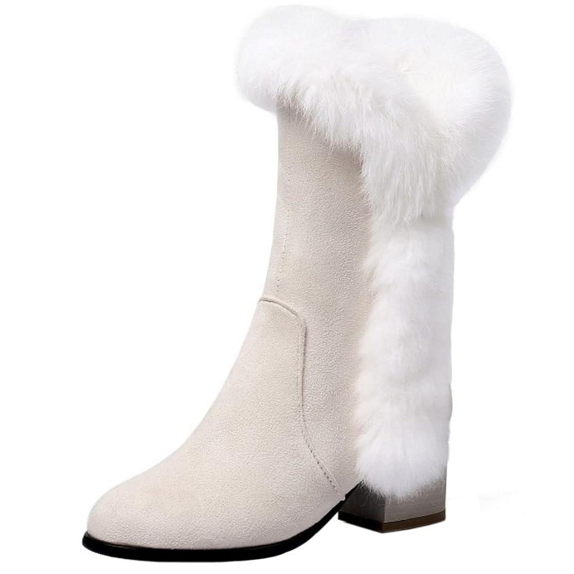 航空機騒ぎ不合格[FANIMILA] レディース ショートブーツ 冬用 太ヒール ブーツ サイドジップ 大きいサイズ
