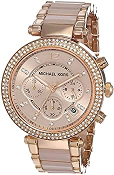 Michael Kors Women s Parker Stainless Steel Analog-Quartz Watch with Resin Strap Two Tone 18  Model  MK5896
