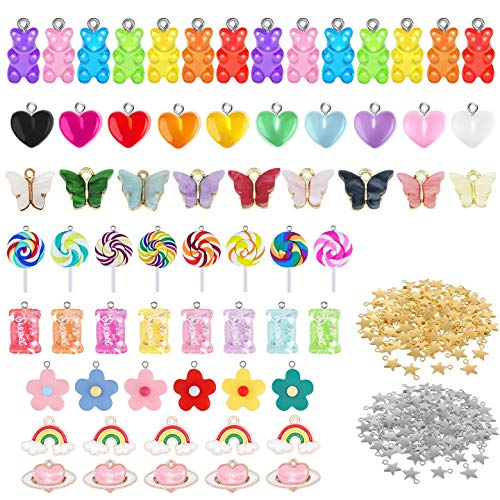 VEGCOO 115Pcs Candy Pendant Charms, Sweet Candy Pendant Bear Charms Polymer Clay Candy Charm Flower Pendants for Jewelry Making DIY Key Chain Necklace Bracelet Earring Making Crafting Accessory