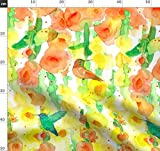 Kolibri, Vögel, Gelbe Blumen, Orangene Blüte Stoffe -