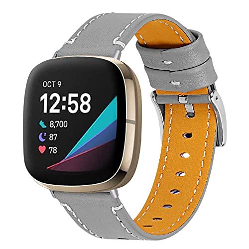 ZLYZS Einfarbiges Armband KompatibelMit Versa 3/Sense, Ersatzriemen Sportarmband Atmungsaktive Bänder Echtlederarmband Uhren Straps Band Wristband KompatibelMit Versa 3/Sense,Grau