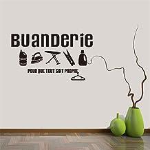 stickers muraux alphabet bleu Buanderie Pour Que Tout Soit Propre For Laundry Room