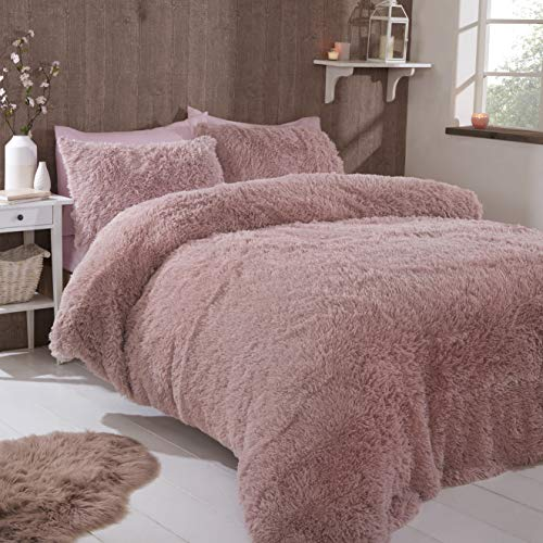 FAUX FUR SHAGGY Long Pile Face, Soft Touch Plush Fleece Reverse, Duvet Cover Set with Pillow Case Thermal Fluffy Winter Warm Cozy Cuddly Bedding Bed Set (Blush Pink, Double)