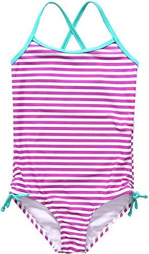 ALove Mädchen Einteiler Badeanzug Streifen Print mit Schleife Violett US 8T, EU 7-8Jahre