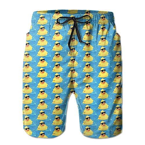 huibe Herren Sommer Gelb Ente mit Sonnenbrille Schnelltrocknend Badehose Boader Shorts Strandbadeanzug Sport, Größe L