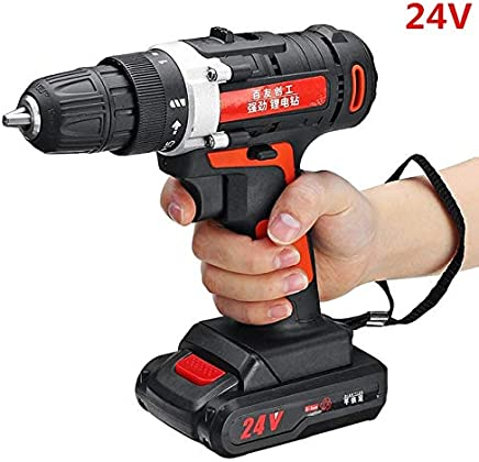 New 12V/24V Rechargeable Battery Brushless Cordless Electric Impact Socket Wrench Car Home Dual Speed Hand Drill Power Tools : 24V