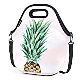 Neoprene Lunch Bag, Cute lunch bags for Women Kids Girls Men Teen Boys, Insulated Waterproof Lunch Tote Box for Work School Travel and Picnic (Green Pineapple)