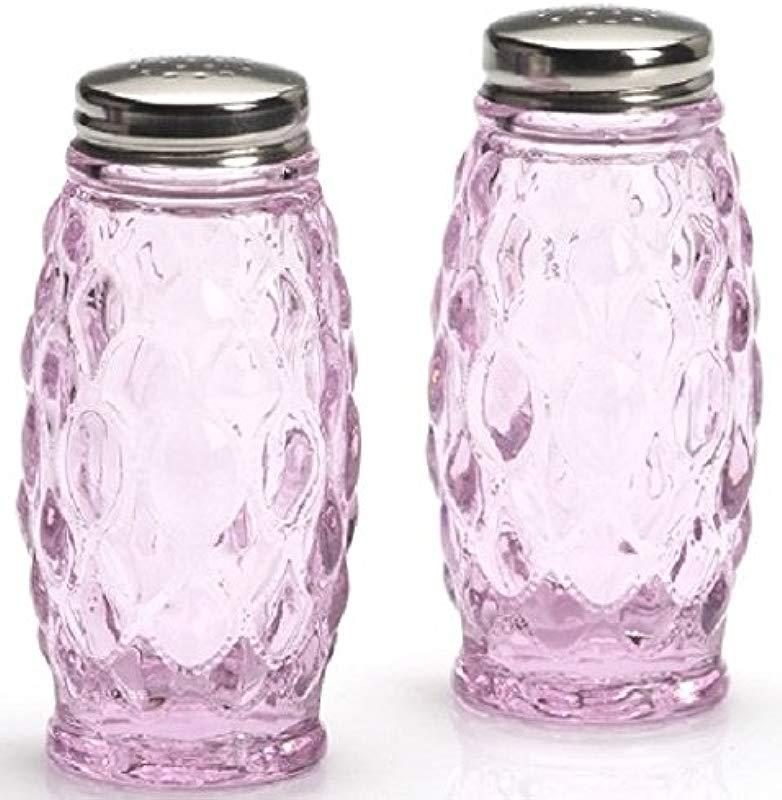Salt Pepper Shaker Set Elizabeth Pattern Mosser Glass American Made Passion Pink
