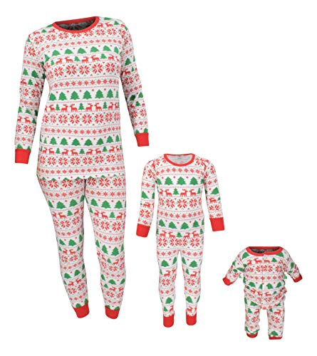 Unique Baby Boys Christmas Family Pajama Set Daddy Mommy and Me (8, White)