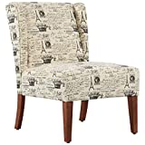 HOMCOM Upholstered Armless Accent Chair, Leisure Side Chair with Wingback, Soft Linen Fabric and Solid Wood Legs, Paris
