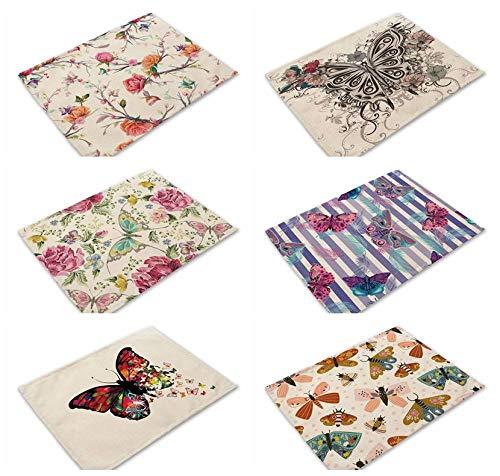 AGAGRG Juego de 6 manteles individuales, de algodón y lino, diseño de mariposas, antideslizantes, resistentes al calor, rectangular, para cocina, para posavasos o lugares, regalo de Navidad