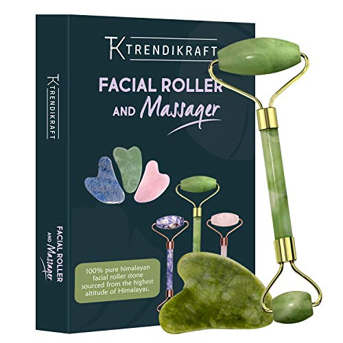 TRENDIKRAFT JTZM-5 Jade Roller and Gua Sha Double Sided Facial Massager Natural Stone Massage Beauty Tool for Face Neck Toning,...