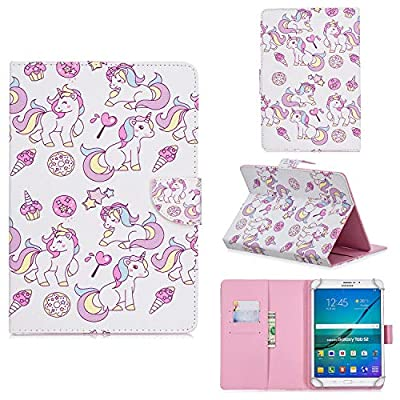 "XTstore Funda Universal para Tablet de 8"", Carcasa Flip Case Cubierta Protectora para Fire HD 8, Samsung Galaxy Tab S2 8.0,Huawei MediaPad T3 8, Lenovo Tab 3 850F/Tab4 8, iPad Mini 4/3/2/1, Unicornio"