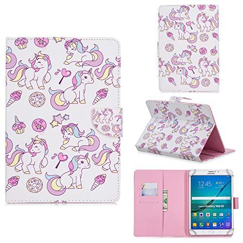 Funda Universal para Tablet de 7', Carcasa Flip Case Cubierta Protectora para Fire 7, Samsung Galaxy Tab A 7', Huawei MediaPad T3 7, Kobo Aura H2O Edition 2, Lenovo Tab3 7/Tab4 7 Essential, Unicornio