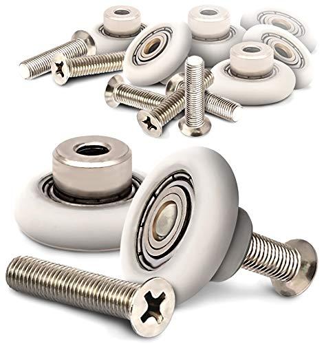 Wieltje voor schuifdeur, douchewiel, douchedeur, diameter voor wielen, douchecabine, douchegordijn, deur, model A281, A283, 8 stuks en schroeven 20mm*7,5mm
