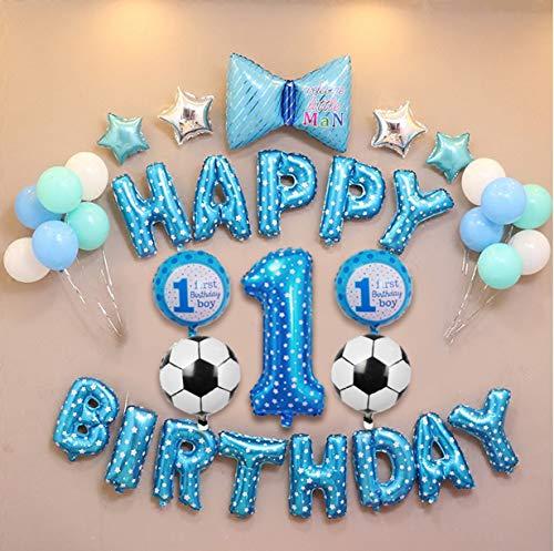 E.For.U® 1. Geburtstag Dekorationen für Junge,Deko 1 Geburtstag, erst Geburtstag Deko Jungen (Blau Ballons)