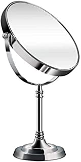 YASE-king Classic Desktop Mirror, 8-Inch, Silver, Double-Sided Mirror, Flat Mirror + 3 x Magnifying Glass, for Dressing Ta...