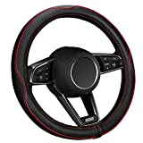 ELZO Universal 14.5-15 Inch Car Steering Wheel Cover with Genuine Leather, Anti-slip Embossing