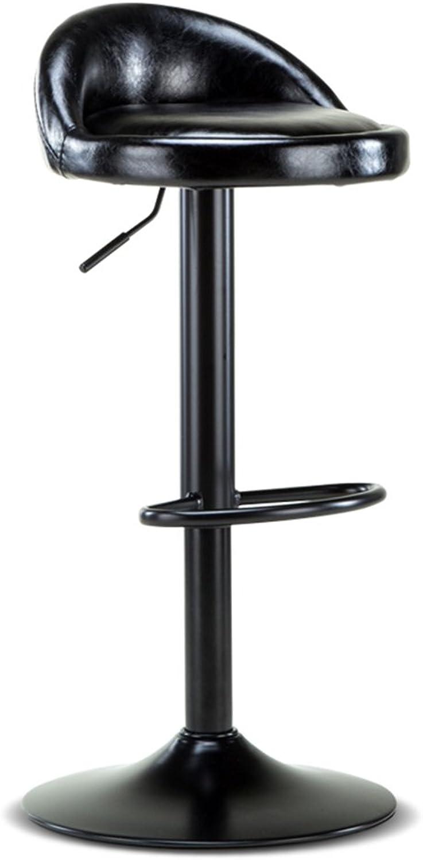 Bar Stool European-Style Bar Chair Lift high Stool Front Bar Stool Backrest Iron Bar Stool (color   Black)