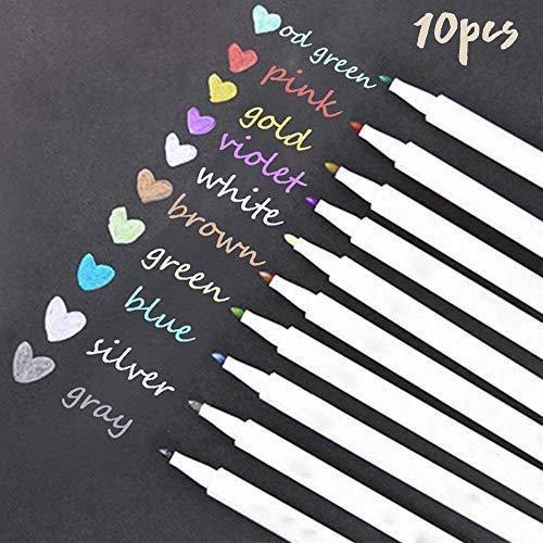 LAAT Metallic Marker Pens Metallic Stifte Set von 10 Malerei Marker für DIY Fotoalbum Gästebuch Hochzeit Papier Scrapbooking Crafts Album Geschenkkartenherstellung