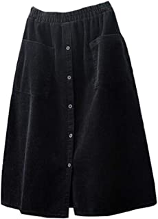 Women's Corduroy Midi Skirt Front Split Buttons Decoration A-Line Dress