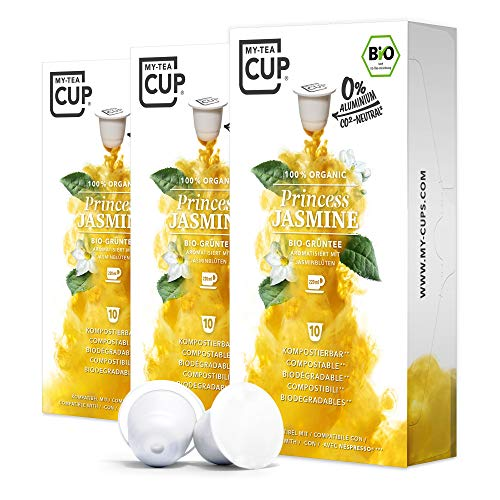My Tea Cup - TEEKAPSELN PRINCESS JASMINE 3 x 10 KAPSELN I BIO-GRÜNTEE I 30 Kapseln für Nespresso®³-Kapselmaschinen I 100% industriell kompostierbare & nachhaltige Teekapseln – 0% Aluminium