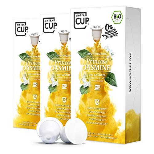 My-TeaCup - TEEKAPSELN PRINCESS JASMINE 3 x 10 KAPSELN I BIO-GRÜNTEE I 30 Kapseln für Nespresso®*-Kapselmaschinen I 100% industriell kompostierbare & nachhaltige Teekapseln – 0% Aluminium
