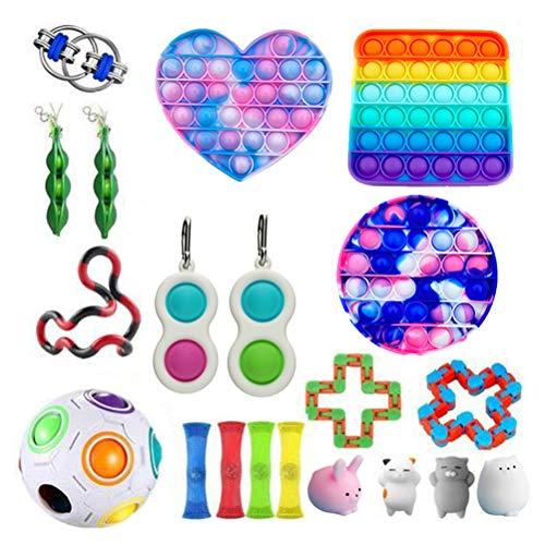 Sensory Fidget Toys Set, einfaches Grübchen Fidget Toy Fidget Pack, Pop It Fidget Toy Regenbogen Push Pop Bubble Fidget Sensory Toy, Fidget Box mit Stress Balls Spielzeug für Kinder oder Erwachsene
