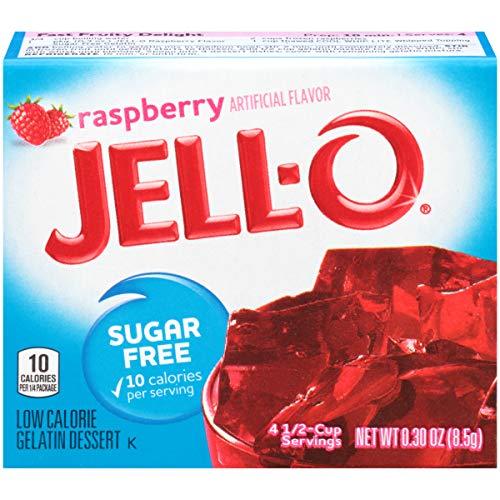 JELL-O Sugar-Free Gelatin Mix, Raspberry, 6 Count, 1.8 Ounce
