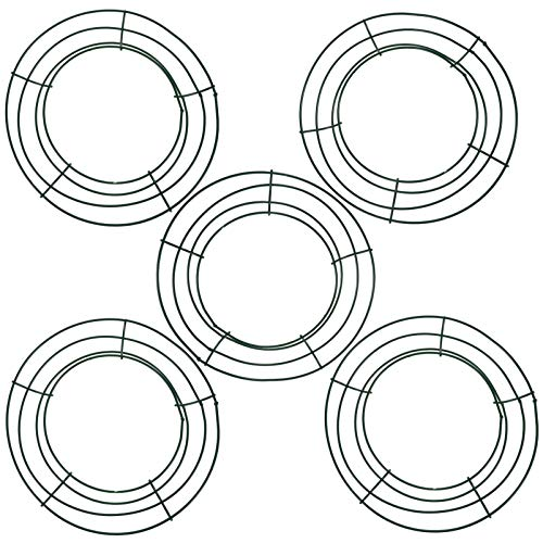 WINOMO 5Pcs 8 Inch Metal Wreath Frames Round Floral Wire Wreaths Flat Wire Wreath Rings Metal Wreath Forms Christmas New Year Valentines Supplies