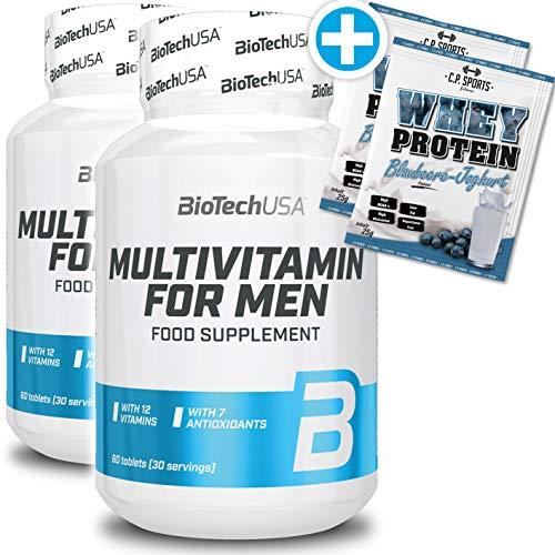 BioTech USA 2 x Multivitamin for Men + C.P. Sports 2 x 25g Whey Protein Testbeutel