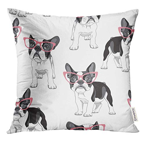 VANMI Throw Pillow Cover Black Frenchie with Cartoon French Bulldog in Pink Glasses on White Dog Funny Decorative Pillow Case Home Decor Square 20x20 Inches Pillowcase