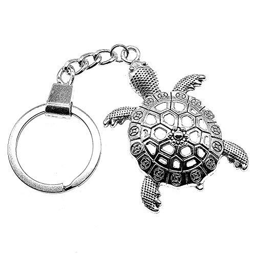 GANGXIA Llavero Llavero Big Tortoise Cuckold Llavero 55X37Mm Silver Big Turtle Tortoise Cuckold Key Chain Party Souvenir Regalos