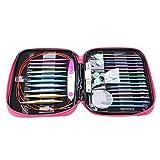 Juego de agujas de tejer circulares de aluminio Yehapp, agujas de ganchillo intercambiables de doble punta, con cables largos Kit de accesorios de tejer para principiantes (3 opciones de juego)