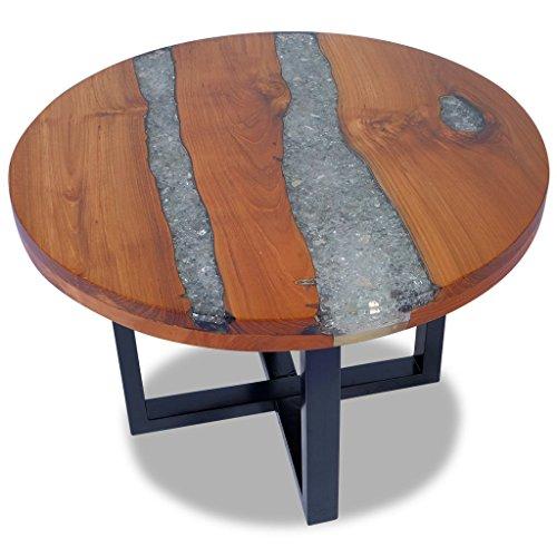 Festnight Couchtisch Kaffeetisch aus massivem Teak und Mangoholz Coffee Tisch Sofatisch Beistelltisch Durchmesser 60cm