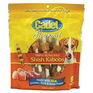 Cadet Premium Gourmet Rawhide Triple-Flavored Shish Kabobs Dog Treats Assorted 12 oz.
