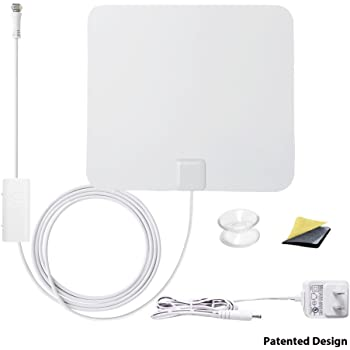 ANTOP Paper Thin AT-100B Smartpass Amplified TV Antenna with High Gain and Built-in 4G LTE Filter–40/55 Mile Long Range 360 Degree Digital TV Antenna – Black and White -10ft Cable - 4K UHD Ready