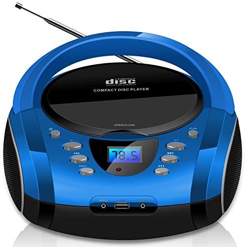 Tragbare Boombox | CD/CD-R | USB | FM Radio | AUX-In | Kopfhöreranschluss | CD-Player | Kinder Radio | Boombox | CD-Radio | Stereoanlage | Kompaktanlage (Cobalt Blue)