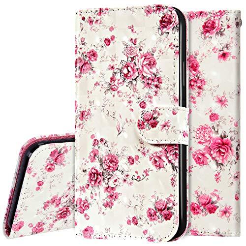Surakey Hülle für Huawei P40 Lite Handyhülle Schutzhülle Klapphülle Bunt 3D Bling Glitzer Muster PU Lederhülle Brieftasche Flip Case Wallet Tasche Handytasche Kartenfächer,Pink Rose